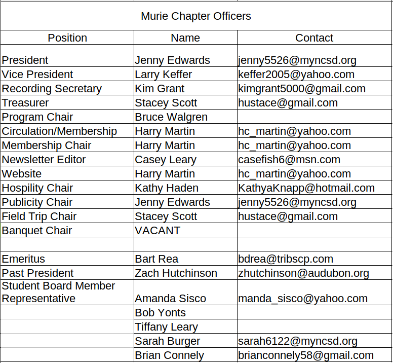Murie Chapter Officers